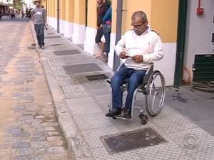 Vistoria constatou problemas em relação a acessibilidade para cadeirantes  (Foto: Reprodução/RBS TV)