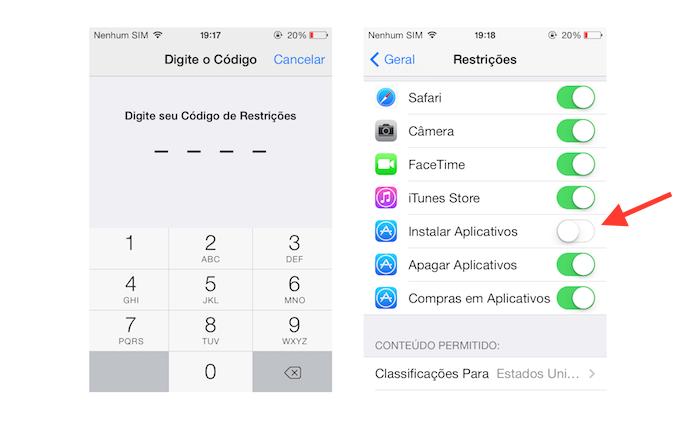 Desativando a App Store através das opções de instalação de aplicativos do iOS (Foto: Reprodução/Marvin Costa)