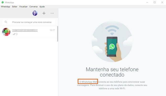 Termo WhatsApp Web aparece no WhatsApp Desktop (Foto: Reprodução/Barbara Mannara)