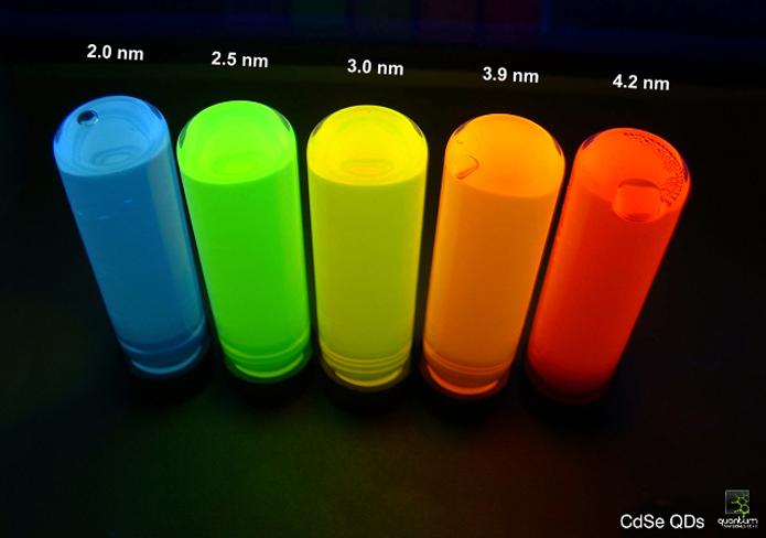 Imagem mostra os cristais chamados de pontos quânticos. Observe como as cores emitidas são intensas e vivas. No caso de TVs, apenas os vermelhos e verdes são usados (Foto: Divulgação/Quantum Materials)