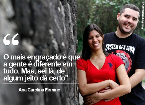 O técnico de informática Rafael Carneiro, de 29 anos, e a contadora Ana Carolina Firmino, de 28 anos, que venceu concurso para se casar no Rock in Rio 2015 (Foto: Felipe Hanower/G1)