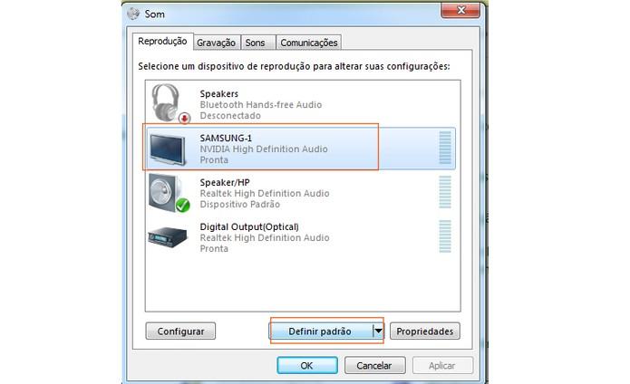 HDMI: configure o áudio após conectar o computador na TV