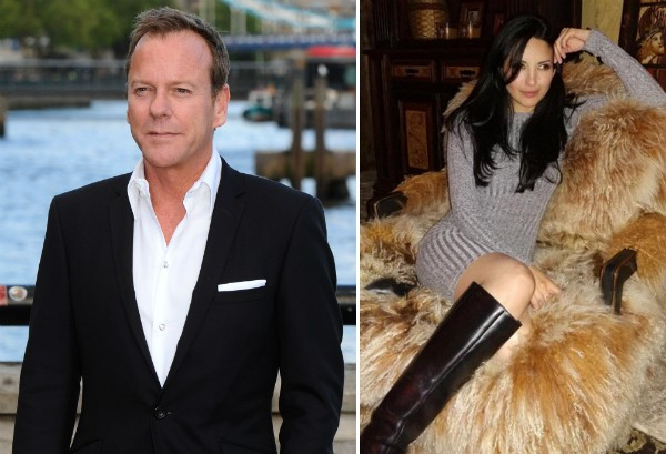 O ator Kiefer Sutherland e a atriz Cindy Vela (Foto: Getty Images/Instagram)