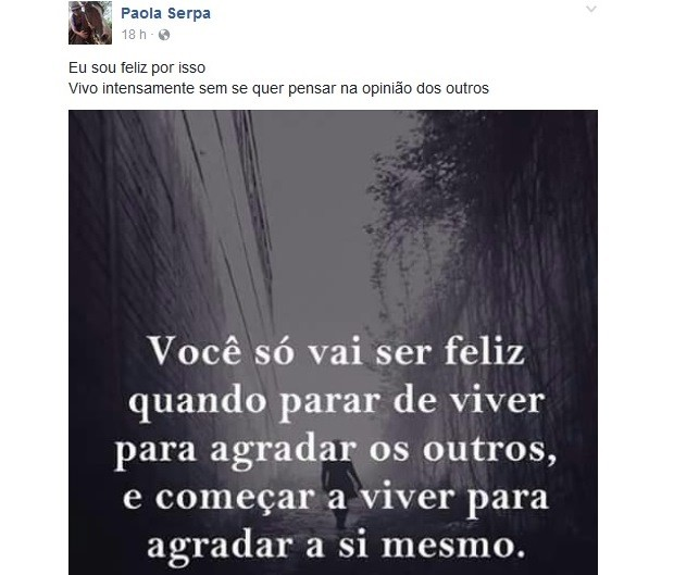 Paola Serpa Severo havia saudado a vida em post no Facebook antes de ser assaltada e morta em Cachoeirinha (Foto: Reprodução/Facebook)