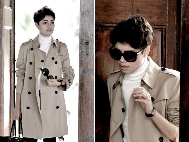 O trench coat é como uma capa que deu proteção à personagem (Foto: O Rebu / TV Globo)