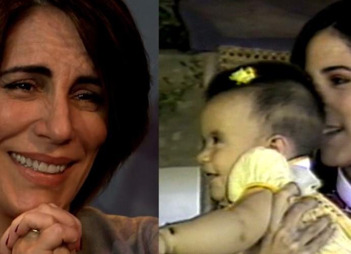 Gloria Pires revê imagem antiga com Cleo Pires no colo (Foto: Estrelas / TV Globo)