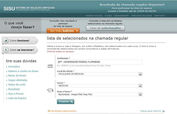 Site do Sisu traz todas as listas de aprovados (Foto: Reprodução/Inep)