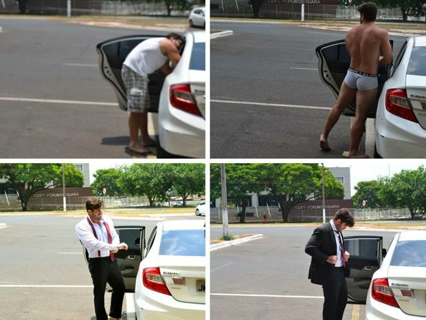 Advogado tracando de roupa em frente ao Fórum do Guará (Foto: Bruno Afonso/Arquivo Pessoal)