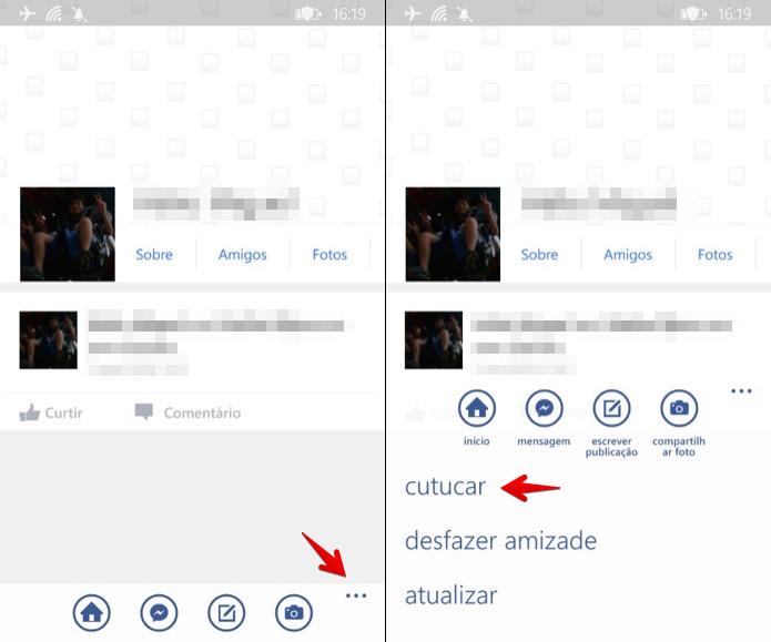 Cutucando amigo pelo aplicativo para Windows Phone (Foto: Reprodução/Helito Bijora)