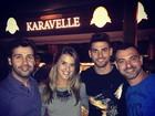 Ex-BBBs Angela, Rodrigo e Vagner jantam juntos em São Paulo