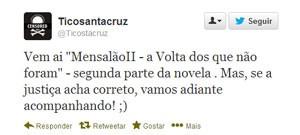 Tico Santa Cruz, vocalista do Detonautas, dá sua opinião sobre novo julgamento do mensalão (Foto: Reprodução/Twitter)