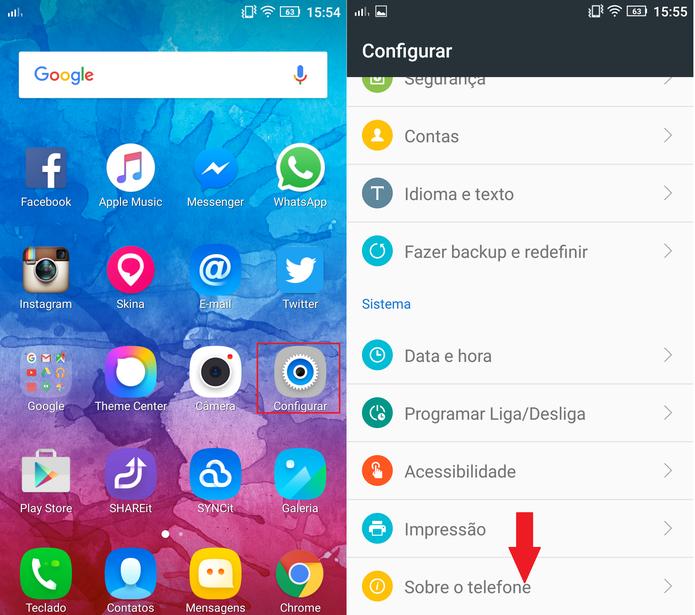 """Vá até as configurações do celular e clique em """"Sobre o dispositivo"""" (Foto: Reprodução/Caio Bersot)"""