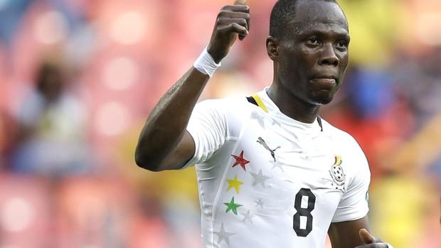 Emmanuel Badu comememora gol de Ghana contra o Congo, AP (Foto: Agência AP)