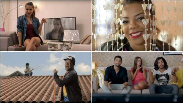 Aniita, Ludmilla, Psirico e Munhoz & Mariano em campanha da Globo sobre a TV digital (Foto: Divulgação)