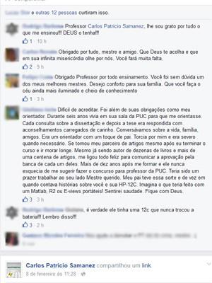 Alunos lamentaram a morte do professor (Foto: Reprodução / Facebook)