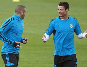 cristiano ronaldo benzema real madrid treino (Foto: Ag&#234;ncia EFE)