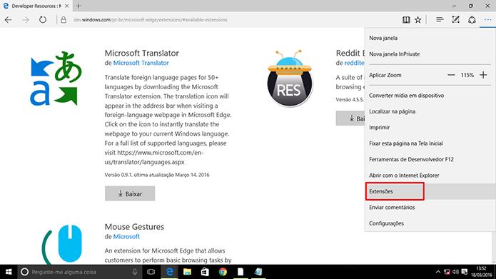 Extensões do Microsoft Edge precisam ser ativadas após instaladas (Foto: Reprodução/Elson de Souza)
