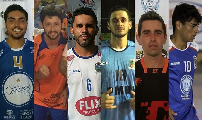 Personagens dos três jogos deste sábado pela Copa Rio Sul de Futsal (Foto: Divulgação)
