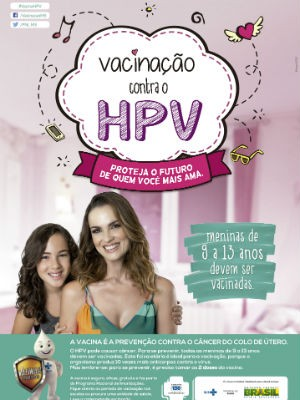 Material publicitário do Ministério da Saúde para divulgar a vacinação permanente contra o HPV (Foto: Ministério da Saúde/Divulgação)