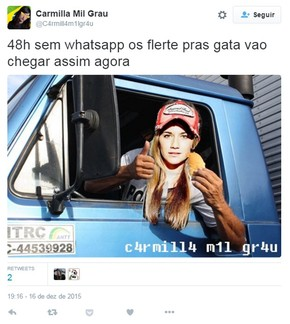 Usuário do Twitter pensa em alternativas para xaveco com proibição do WhatsApp no Brasil (Foto: Reprodução/Twitter/@C4rmill4m1lgr4u)