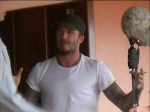 David Beckham durante gravação em Roraima (Foto: Reprodução SporTV)