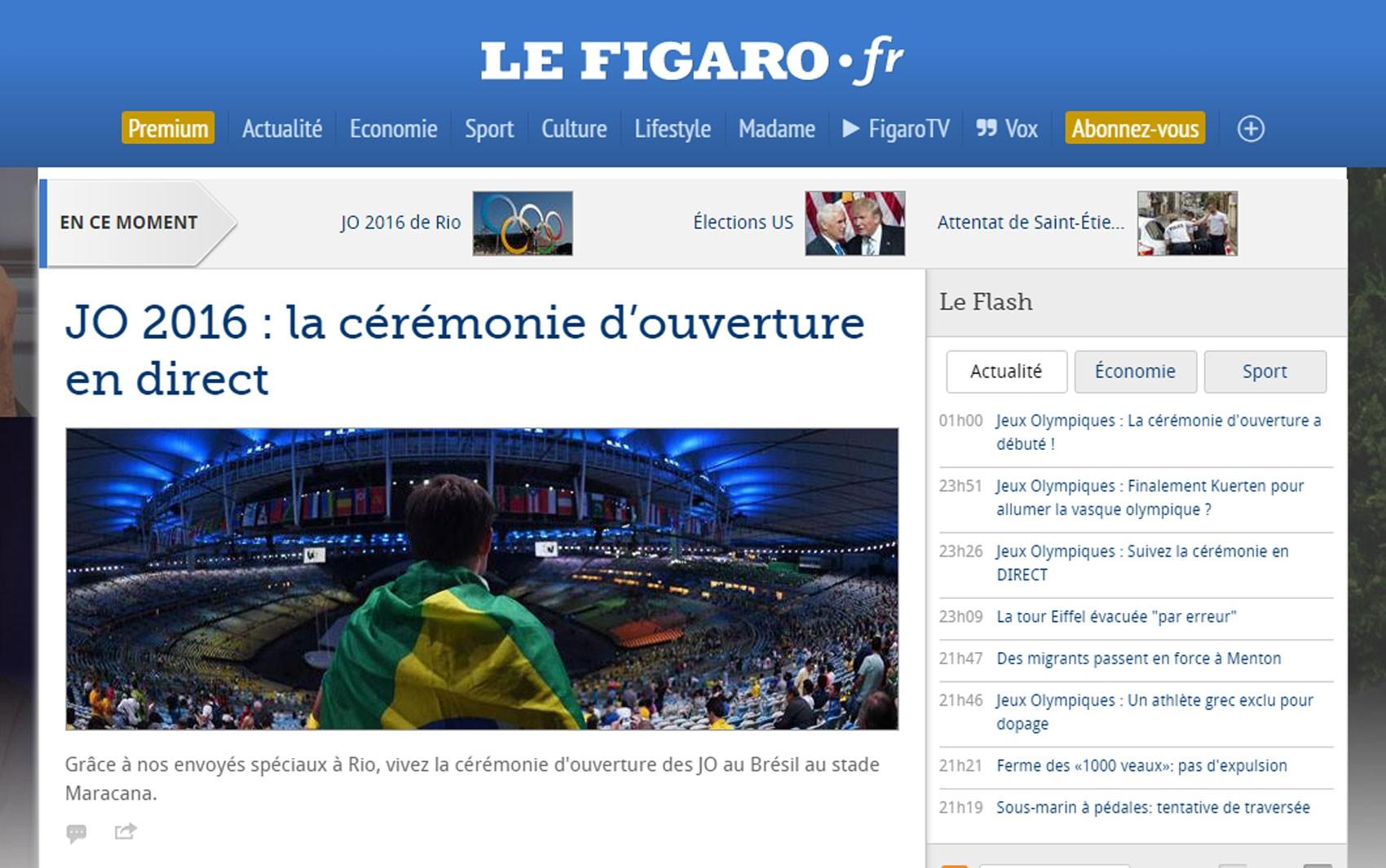 'Le Figaro'  teve tempo real sobre cerimônia de abertura da Olimpíada do Rio