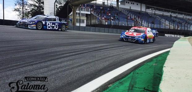 Khodair #18 entre os carros da sua futura equipe Blau Motorsport (Foto: Conexão Saloma)