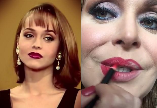 Gabriela Spanic nos anos 1990 e atualmente, em tutorial de make  (Foto: Reprodução/Instagram)