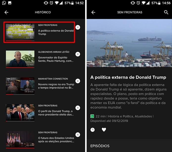 Globosat Play permite que usuário continue de onde parou a partir do histórico (Foto: Reprodução/Elson de Souza)