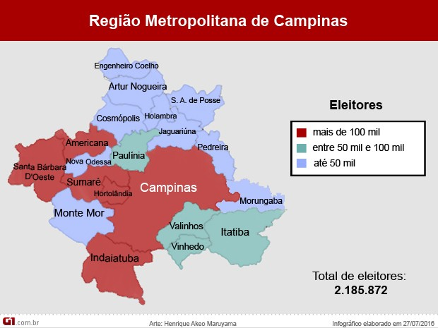 Região Metropolitana de Campinas tem 2,1 milhões de eleitores (Foto: Arte G1 / Henrique Maruyama)