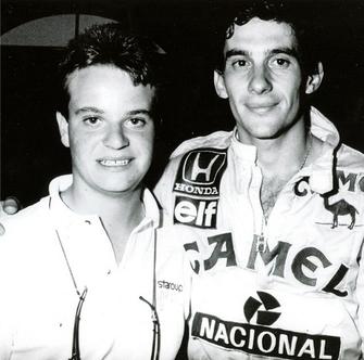 Rubinho e Ayrton Senna na época que corriam juntos na F1.  (Foto: Reprodução/Instagram)