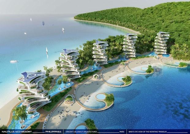 Eco-Resort nas Filipinas tem edifícios que giram para acompanhar o sol (Foto: Divulgação)