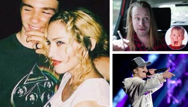 Madonna e o filho Rocco, Macaulay Culkin e Justin Bieber (Foto: Getty Images/Reprodução)