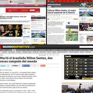 Nilton Santos nos sites (Foto: Reprodução)