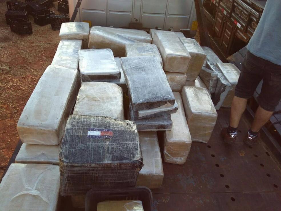 Tabletes apreendidos em Pouso Alegre (MG) estavam em caminhão com placas do Paraná (Foto: Polícia Militar Rodoviária)