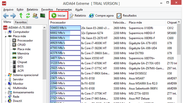 AIDA64 permite comparar desempenho de computador com outros modelos (Foto: Reprodução/AIDA64)