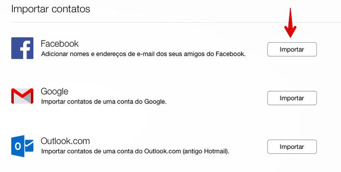 Importando contatos do Facebook para o Yahoo (Foto: Reprodução/Helito Bijora)