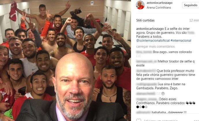 """Antônio Carlos Zago tira """"selfie"""" após classificação  (Foto: Reprodução / Instagram )"""