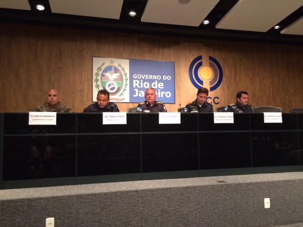 PM do Rio concede entrevista coletiva após prisão de Fu e comparsas no Rio (Foto: Janaína Carvalho/G1)