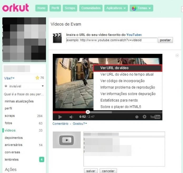 Com o botão direito sobre o vídeo, selecione Ver URL do vídeo  (Foto: Reprodução/Paulo Finotti)