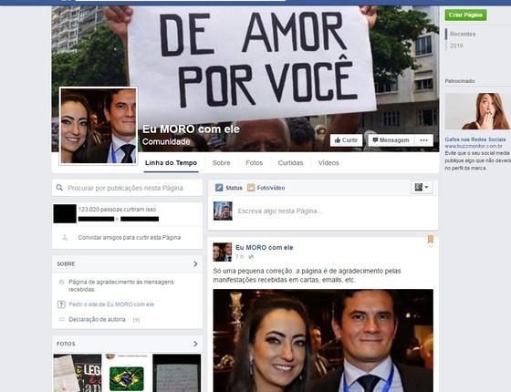 Página em homenagem a Moro criada pela esposa do juiz faz sucesso no Facebook (Foto: reprodução/Facebook)