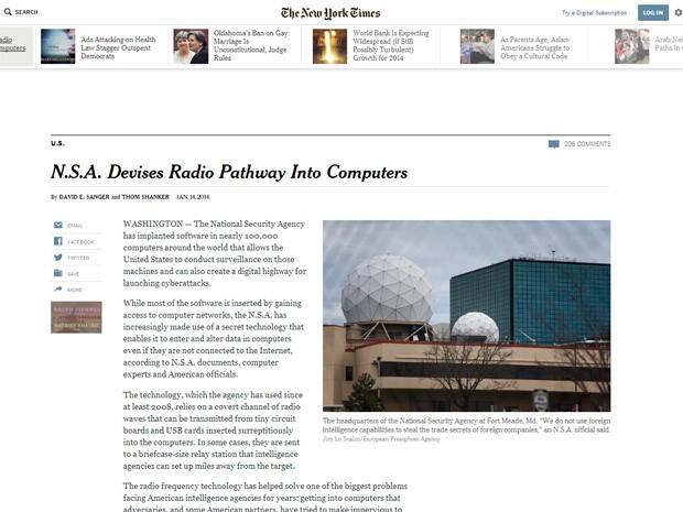 NSA colocou programa de espionagem em 100 mil computadores de todo o mundo, diz NYT. (Foto: Reprodução/Site New York Times)