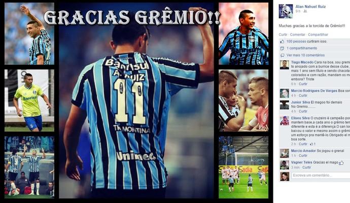 Alan Ruiz se despede do Grêmio  (Foto: Reprodução / Facebook)