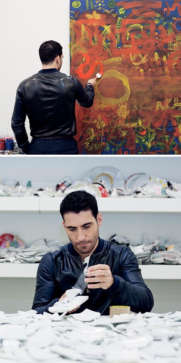 No alto, Miguel adiciona um pouco  de paixão à tela, com a tinta vermelha   na obra Pintura para Colorir. Acima,  na Peça Remendo, ele cola vários  pedaços de louças com fita adesiva  (Foto:  )