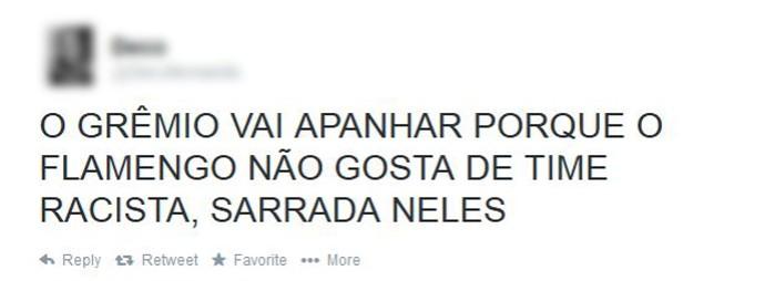 Print - twitter torcedor flamengo e grêmio (Foto: Reprodução / Twitter)