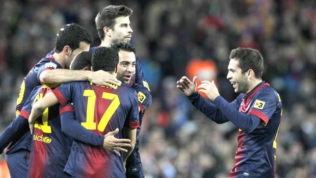 Barcelona comera gol contra o Atlético de Madri (Foto: Agência Reuters)