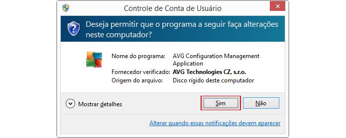 Aviso de controle do Windows pode aparecer dependendo da configuração (Foto: Reprodução/AVG)