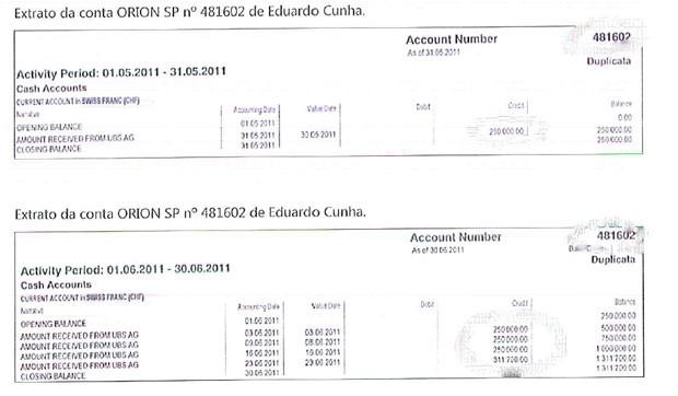 Cópia do extrato da conta Orion SP de Eduardo Cunha (Foto: Reprodução)