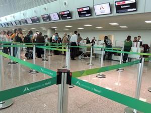 Aeroporto Aluízio Alves recebeu primeiros passageiros neste sábado (Foto: Fred Carvalho/G1)