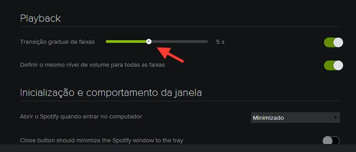 Regulando o tempo da transição de faixas do Spotify no Windows (Foto: Reprodução/Marvin Costa)